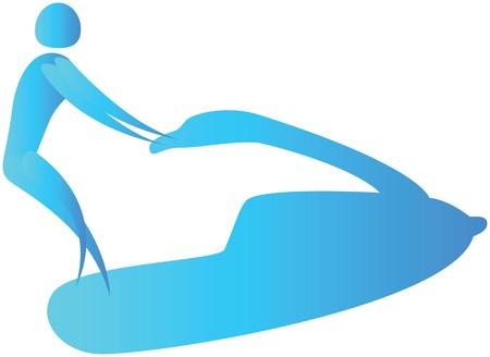 freetime: human  riding a jet ski at sea Stock Photo