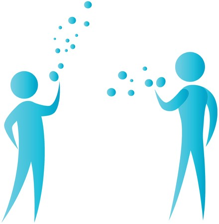 two human blowing water bubble Stock Photo - 7596980