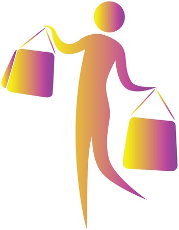 human holding shopping bags in both hands photo
