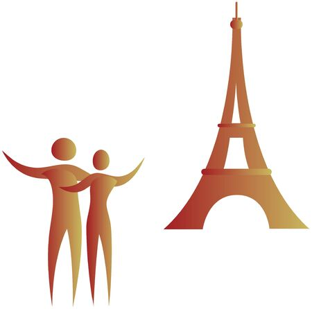 human couple standing in front of eiffel tower Stock Photo - 7596967