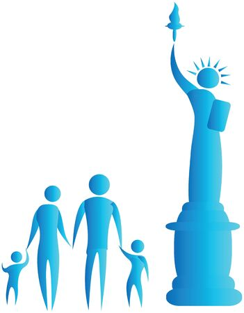 human family standing in front of statue of liberty Stock Photo - 7597079