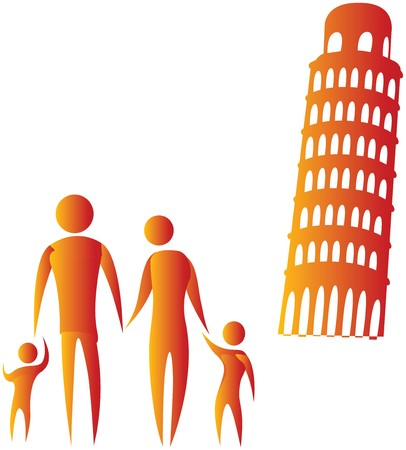 stickmen: human family standing in front of leaning tower of pisa Stock Photo
