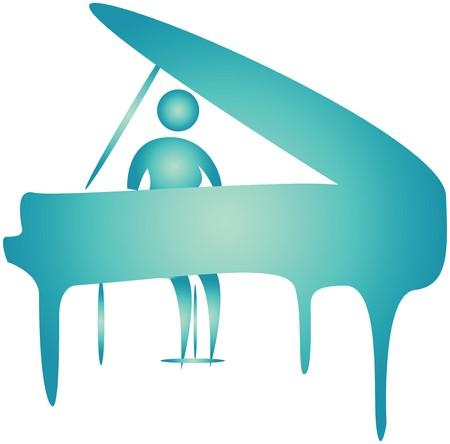 bonhomme allumette: humain joue un piano.