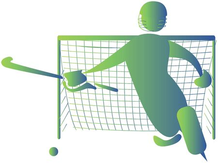goal keeper: goal keeper trying to save a goal Stock Photo
