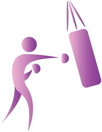 punching bag: human praticing on a puncing bag