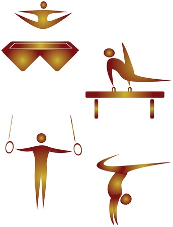 trampoline: collection of human motifs doing different sports