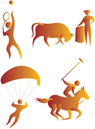 collection of human motifs doing different sports photo