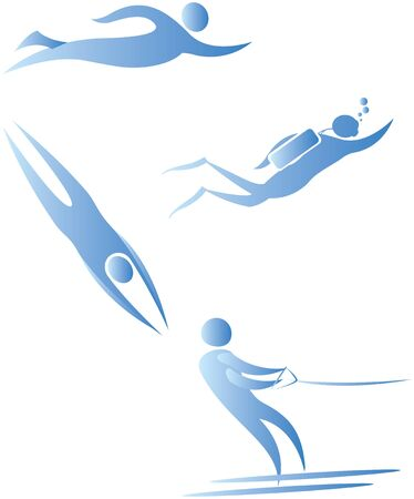 free diver: collection of human motifs doing different sports