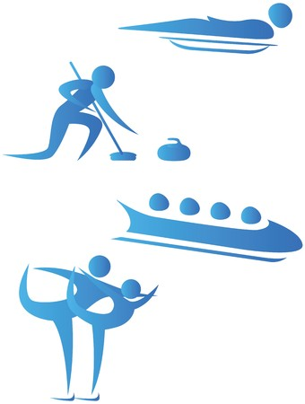 winter sport: collection of human motifs doing different sports