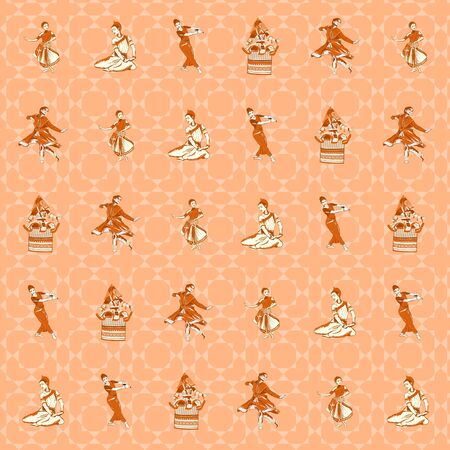 kuchipudi: pattern background of indian dance postures