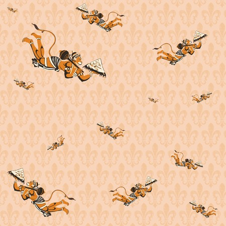 flying monkey: pattern background of hindu god hanuman Stock Photo