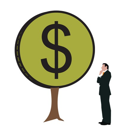 Businessman looking at a money tree Stock Photo - 7861010