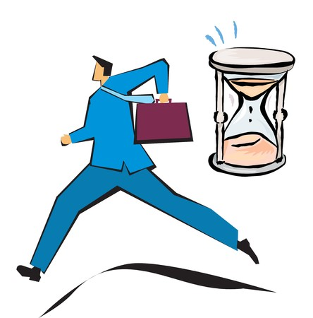 getting late: Businessman running with an hourglass