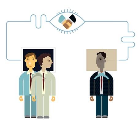 Businessmen communicating online  photo