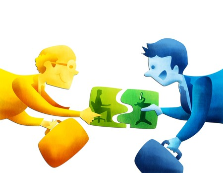merger: Conceptual image representing the merger of two companies  Stock Photo