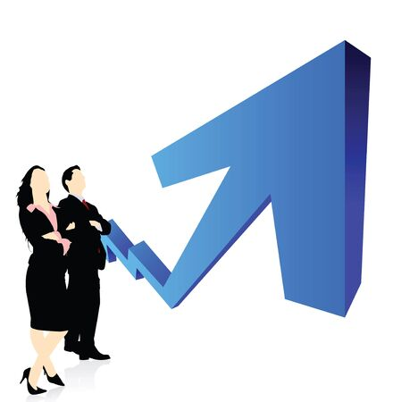 Business executives standing in front of rising graph Stock Photo - 7861034