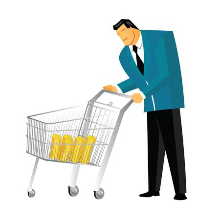 collected: Man pushing coins in a cart collected