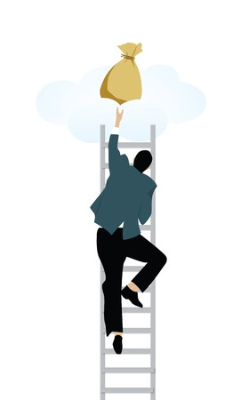lucky bag: Man climbing on step ladder to get money bags from clouds