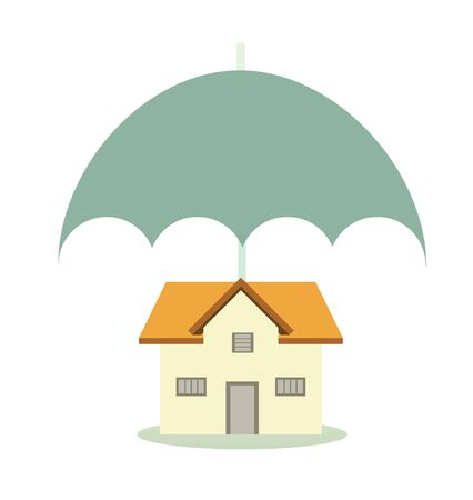 sheltering: House sheltering with an insurance umbrella   Stock Photo