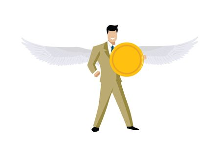angel flying: Business angel flying with a coin   Stock Photo