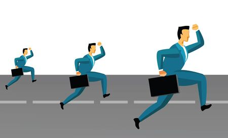 getting late: Three businessmen running on the road  Stock Photo