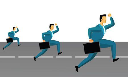 Three businessmen running on the road Stock Photo - 7861033