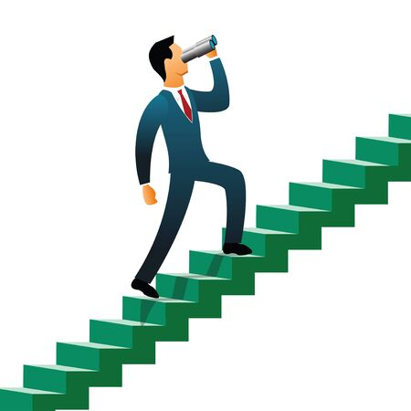 looking through an object: Businessmen climbing up steps   Stock Photo