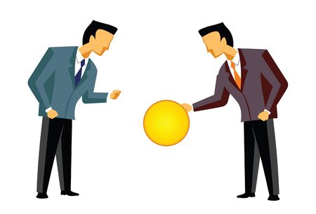 bridging: Two businessmen exchanging a coin