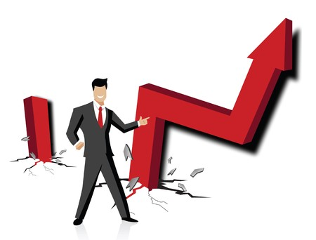 Businessman with up rise arrow sign Stock Photo - 7861085