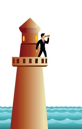 horizon over water: Businessman standing on a lighthouse