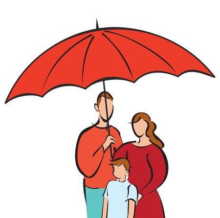 Family sheltering umbrella  photo