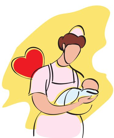 Female nurse carrying a baby