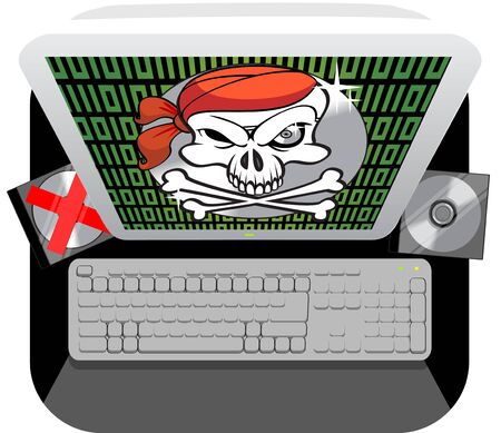 anti piracy message flashed on the computer screen  photo
