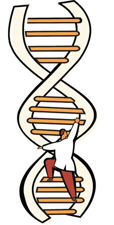 Scientist moving up on a DNA ladder Stock Photo - 7861268