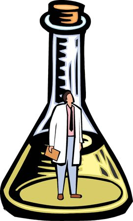 conical: Scientist genie in a conical flask  Stock Photo