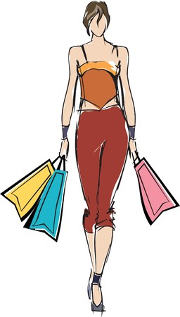 retail therapy: Woman holding shopping bags  Stock Photo
