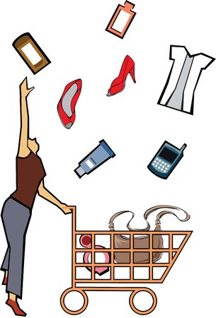 weekend activities: Woman catching shopping products  Stock Photo