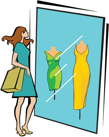 weekend activities: Woman standing outside a clothing store with shopping bag