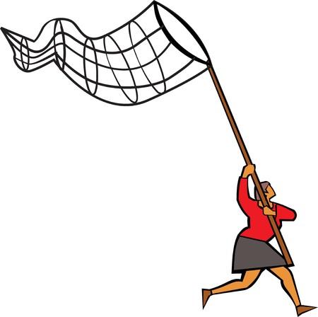 butterfly net: Woman using butterfly net to catch