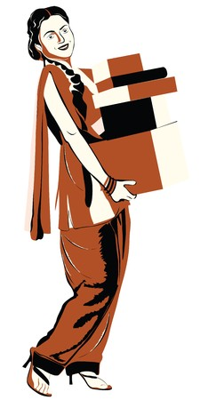 salwar: Woman with shopping bags