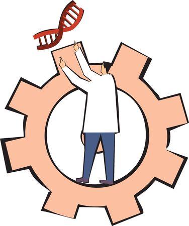examining: scientist experimenting