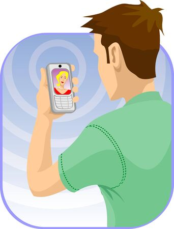 woman looking down: Man video voice chatting through mobile phones with a woman