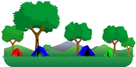 weekend activities: Camping in forest  Stock Photo