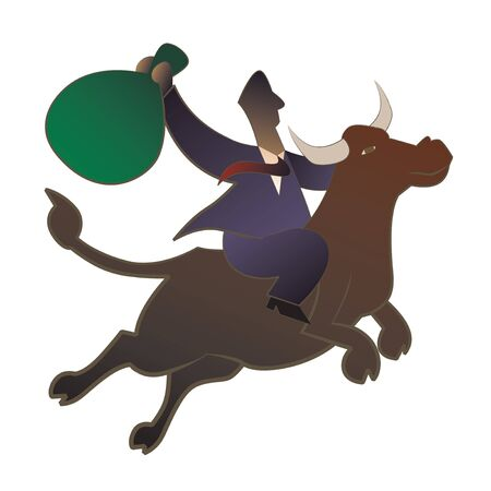 Businessman riding a bull Stock Photo - 7861070