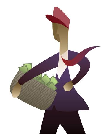 reaping: Businessman collecting money   Stock Photo