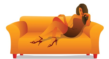 high society: Woman sitting on a couch   Stock Photo