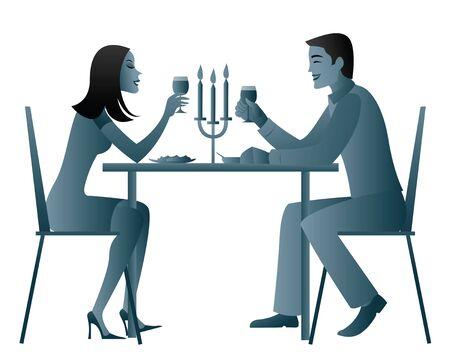 pareja comiendo: Cena de luz de las velas alimentarios de pareja  Foto de archivo