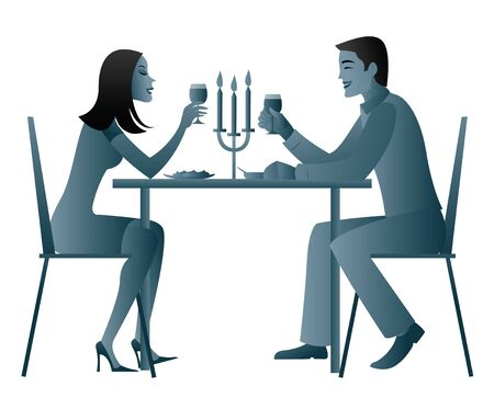 Couple eating candlelight dinner   photo