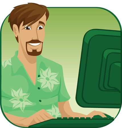 telecommunicating: man working on a laptop