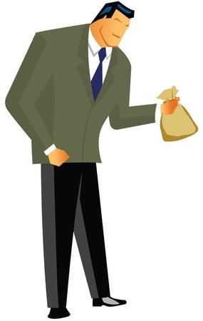 Businessman holding sack of money  photo